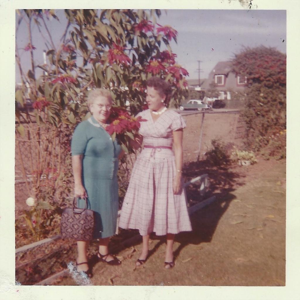 """Marie Pressl & her niece, Ernestine """"Ernie"""" Gonzales, Nov 1959"""